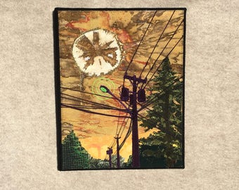 Toxic Avenger, 11x14 inches, original sewn fabric artwork, handmade, freehand appliqué, ready to hang canvas