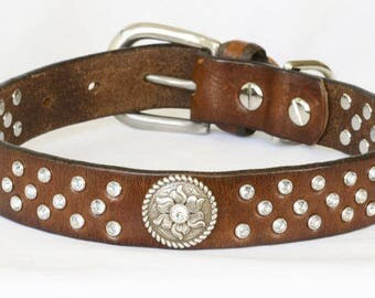 Western Leather Dog Collar, Brown Full Grain Reclaimed Leather, w/ Handset Jewels. Custom sizes medium to large