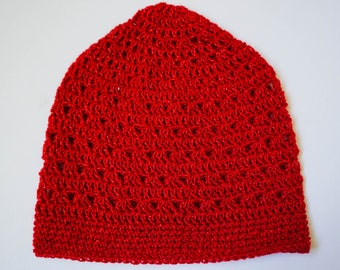 Ruby Red Crochet Beanie Red Sparkle Beanie Teen Girls Womens Crocheted Hat Lace Hat Lacy Crochet Beanie Red Beanie Red Hat (HAT103Red Stone)