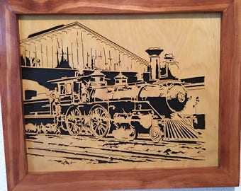 "old train in the 1800s Beautiful hand scrolled 14"" x 16"" wooden framed pictures"