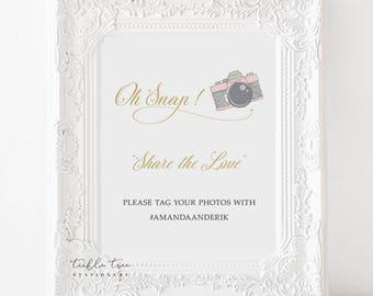 Oh Snap Hashtag Photo Sign Art Print - Retro Fun