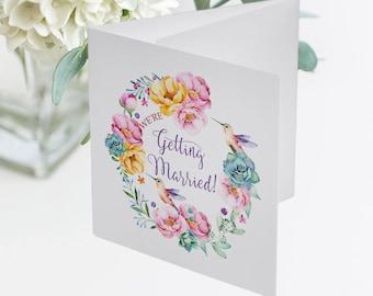 Wedding Invitations, Semi Custom (Trifold) - Hummingbird Garden (Style 13679)