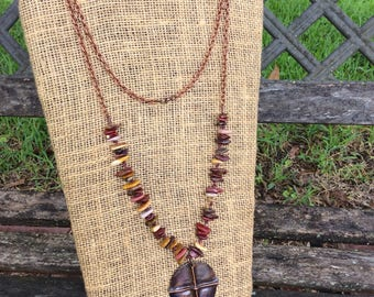 Copper Fold Formed Necklaces, Boho Copper Patina Necklace
