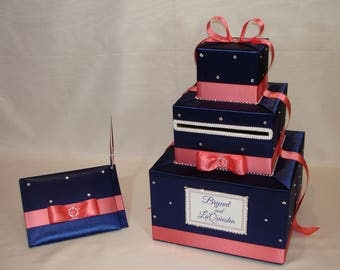 Navy Blue and Coral Reef Card Box and matching Guest Book/Pen-Rhinestone accents