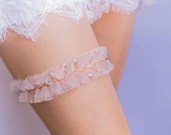 Blush pink and Rose Gold Wedding Garter -  tulle with rhinestones, glass beads and pearls
