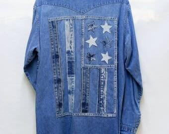 American Flag Patchwork Denim Shirt