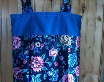 Handmade Upcycled Reclaimed Denim & Black Floral Reversible Tote Handbag Multi Use Market Bag  FREE SHIP