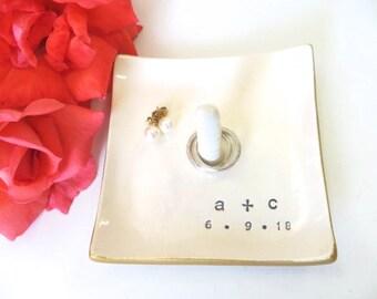 Ring dish, Ring Holder, Custom Engagement gift, Wedding Gift, Gift for Couple, Bridal Shower Gift, Ring Cone, White, Gold, Ceramic Pottery