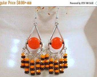 CIJ Halloween Earrings, Day Of The Dead Earrings, Black and Orange Earrings, Beaded Chandelier Pierce Earrings. CKDesings.us