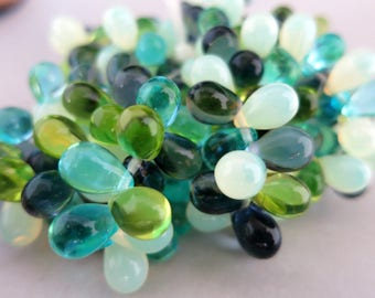 Sea Breezes Drop Beads, 1 Strand of 25, 6x9mm Czech Glass Beachy Boho Beads