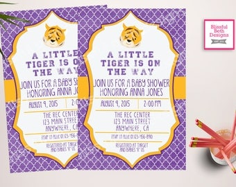 LSU Baby Shower, LSU Baby Shower Invitation, LSU Baby Shower Invite,  Louisiana Tigers, TigerBaby Shower, Tigers