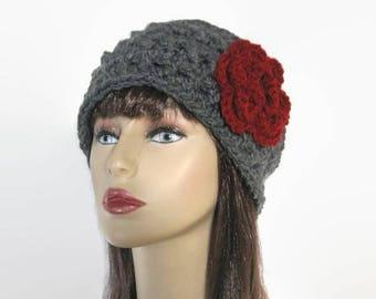Gray Headband Charcoal Earwarmer Thick earwarmer with flower Chunky Headband Charcoal knit headwrap Thick Crochet Headband Charcoal headwrap