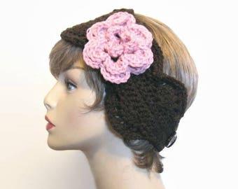 Brown Headband with Flower Crochet Head band Brown Ear warmer brown knit earwarmer with Flower Crochet Earwarmer  Brown Ear Warmer  Headwrap