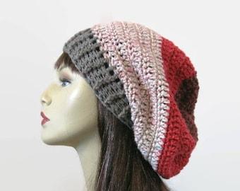 Crochet Slouchy Hat Multlicolor Knit Beanie Dark Red Striped Slouchy Hat Gray Beret Gray Slouch Tam Gray Crochet Hat Gray Beanie Knit Tam