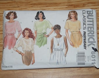 Retired Butterick  6011 Misses  Fast & Easy Classics Shirt top Pattern  Size xsm - s - M