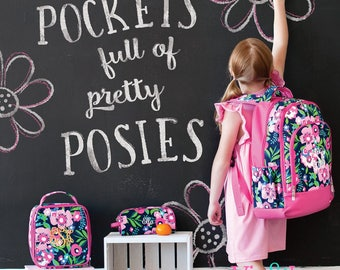 Girls Personalized Backpack & Lunch Box - Monogrammed Backpack and Lunch Tote Set - Posie ~ Monogrammed Girls Book Bag ~FREE Personalization