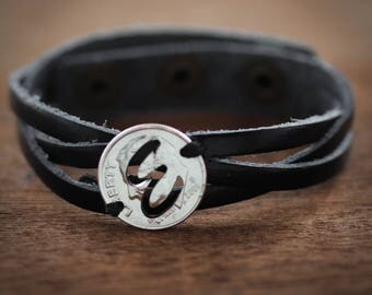 Custom Initial Cut on a dime and sewn on a woven Leather Bracelet, Braided leather, Hand Cut Coin By Namecoins