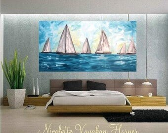 "SALE 48""x24""Oil seascape painting Abstract Original Modern Contemporary Yacht painting by Nicolette Vaughan Horner"