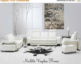"SALE Huge Oil Neutral tones,greys,white,taupe,circles Abstract Original Modern 48""x 36"" impasto oil painting by Nicolette Vaughan Horner"