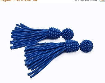 ON SALE NAVY Blue beaded tassel Earrings with Clip ons or sterling silver stud / Choose your length / high quality handworks