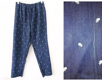 Ditsy Embroidered Blue 90's Inspired Shred Threads Pants Small Medium Elastic Waist