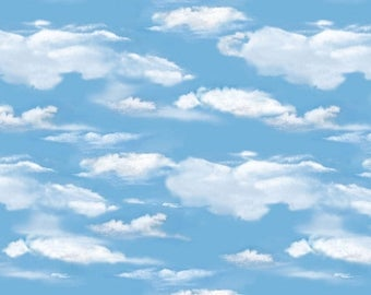 12% off thru July OH DEER! medium blue sky clouds white cotton print by the 1/2 yard Wilmington fabric-30164-441