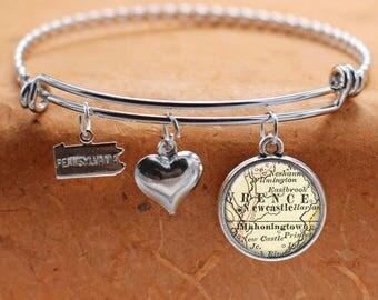 New Castle PA Map Charm Bracelet State of Pennsylvania Bangle Cuff Bracelet Vintage Map Jewelry Stainless Steel Bracelet
