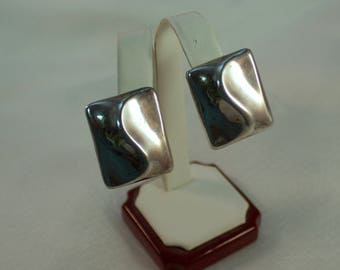 c1980's Taxco Sterling Modernist Clip Earrings