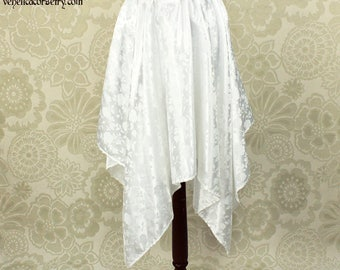 "Steampunk Fairy White Rose Brocade Pointed Petal Skirt -- 4 Points, 35"" Point Length -- Fits up to 38"" Waist, Ready to Ship!"