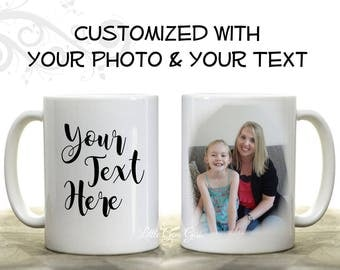 Custom Coffee Mug Personalized with Your Picture or Text - Large 15 oz - Customized Quote Novelty Tea Cup - Logo Name Pet Photo Mug