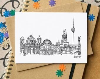 Berlin Landmarks Greetings Card - Berlin Skyline Art - blank Berlin card - card for Berliner - Germany greetings card - Berlin skyline card