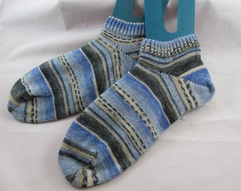 Blue Stripe Shortie Hand Cranked Socks-Free Shipping
