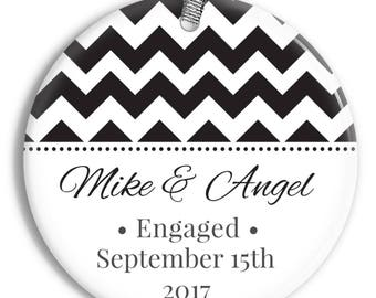 Chevron Engagement Ornament - Recently Engaged - Wedding Gift - Personalized Porcelain Holiday Ornament - orn0007 - Peachwik - Ornament