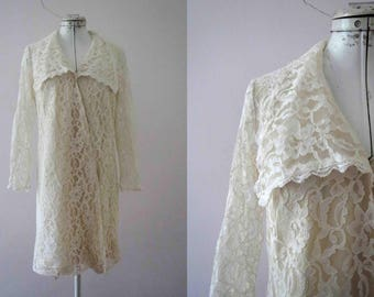 Vintage 60s Ivory Lace Mini Dress Small