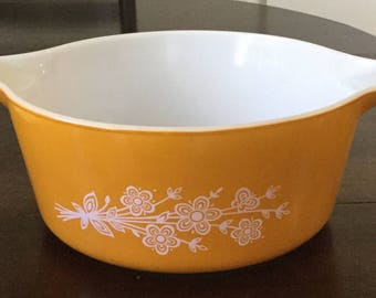 Vintage Large Pyrex Casserole Dish Gold with White Flowers