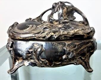 Jennings Antique Jewelry Casket Art Nouveau Silver Plate Footed Dresser Vanity Early 1900's Small Sized Casket