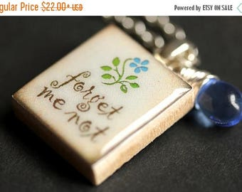 SUMMER SALE Scrabble Tile Necklace. Forget Me Not Charm Necklace with Blue Teardrop. Scrabble Pendant. Forget Me Not Scrabble Necklace. Hand