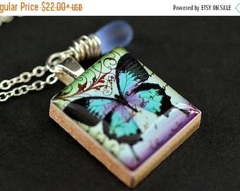 SUMMER SALE Butterfly Necklace. Scrabble Tile Necklace. Blue Butterfly Charm Necklace with Blue Teardrop. Handmade Jewelry.