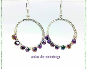 Purple and silver hoops - Czech glass - fire polish - color shifting blue pink green yellow