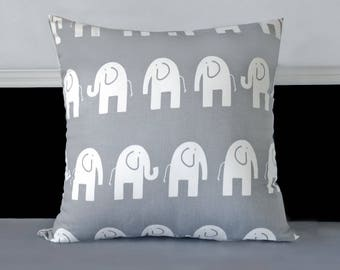 "SAMPLE Pillow Cover - Grey White Elephants 20"" x 20"""