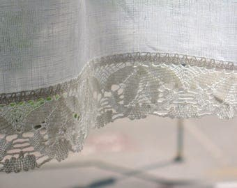 Vintage Lace Curtains Cafe Curtains Washed Linen White Kitchen Curtains Lace Panels Curtains White Curtains Shabby Chic Curtains Panels
