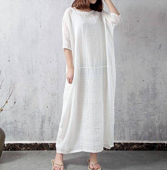 Pink / White Oversize long dress Large size robes dress