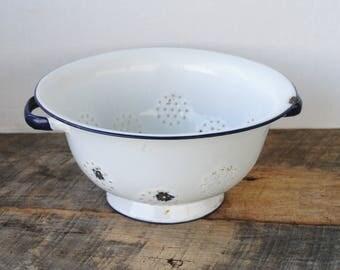 Vintage Colander Strainer White with Blue Enamelware