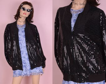 90s Black Faux Sequin Bomber Jacket/ One Size/ 1990s