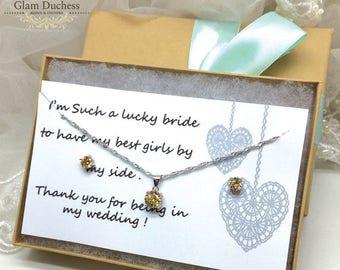 Gift for Sister, Bridesmaids Set, Wedding Necklace Set, Bridal Jewelry Set, Bridal Necklace, Wedding Jewelry, Crystal Necklace Earrings,
