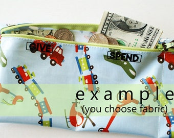 Boys Give Spend Save trifold wallet | 3 sections