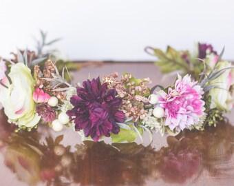 Fall Flower Crown - Autumn Rustic Halo - Flowergirl hairpiece - Wedding Crown - Newborn Photo Prop - Wedding Crown - Floral Hairpiece
