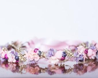 Mermaid Crown - Pink Wire Crown - Mermaid Hairpiece - Flowergirl hairpiece - Beach Wedding - Newborn Prop - Wedding Crown - Floral Hairpiece