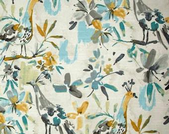 "Two 96"" x 50""  Custom Curtain Panels  -  Flora Flaunt Ripa - Bird - Pooll Blue  Grey"