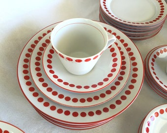 Mid-century china RED POLKA DOT red or dark orange 6-piece settings for 8 retro red polka dot china Northland Hungary plate bowl cup saucer